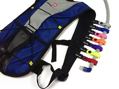 Colored Lanyard Clips on a hydration pack (Hydration Tube Covers) Tags: radio wire drink tube straw clip camel organizer pack cover strap manager shoulder trap lanyard insulated tactical hydration camelbak
