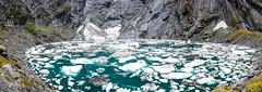 Crucible Lake (NettyA) Tags: newzealand panorama lake water landscape rocks hiking pano harry glacier nz southisland otago tramping icebergs mtaspiringnationalpark 2014 wilkinyoung otagonz cruciblelake samsungiphone youngwilkintrack youngwilkin