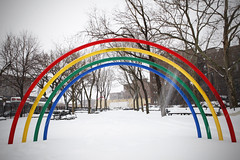 rainbow (Nick Mulcock) Tags: park new york city nyc newyorkcity blue trees red sun snow newyork storm color colour green fountain rain weather playground yellow gardens fun cool rainbow outdoor thomas side sunny clear queens lance p february sunnyside playful corporal precipitation 2014 noonan energetic catcy