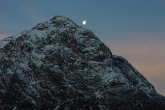 Moonset over Buachaille (dtaylorphotography) Tags: uk morning winter sky moon mountain snow cold ice night landscape outdoors dawn scotland countryside early unitedkingdom britain freezing hills predawn lunar hilly moonset rannochmoor scottishhighlands mountainous buachailleetivemor earthandspace