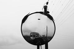 (remofoto) Tags: blackandwhite bw reflection rain station japan train mirror blackwhite cityhall trainstation    gifu seki cityhallstation         sekicity