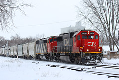 Regular and Extra-Cowly (view2share) Tags: railroad trees winter wisconsin cn train march spring track transport tracks rail railway rr trains transportation rails wi freight railroaders springtime railroads canadiannational freighttrain 2014 railroading 517 emd freightcars freightcar sd60 rring newrichmond trackage electromotivedivision sd60f l517 cn517 cn5501 minneapolissub fracsand cn5408 march2014 march192014