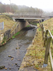 River Irwell looking upstream at Lee Mill,  Stacksteads.   .....  Remains of railway bridge abutment visible on left. (Lawrence Peregrine-Trousers) Tags: history century river industrial railway 18th lancashire east cotton valley axe disused mills cuts 19th irwell rossendale lancs lyr ffffffffff beeching