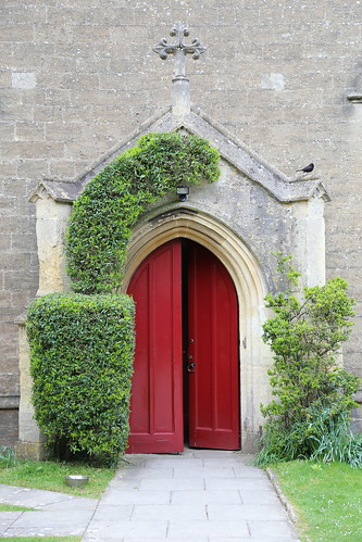 Entrance to church in Winsley, Somerset, England