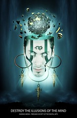 DESTROY THE ILLUSIONS OF THE MIND (nGenius Media) Tags: blue white color green photomanipulation photoshop death gold fly perception globe eyes glow head free surreal ring mind gradient coloring warrior illusions pendulum shatter destroy shading cs5