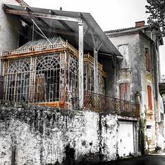 Que reste t il de nos jardins d'hiver? (klingp (instagram)) Tags: france rouge couleurs jardin pluie immeuble lampadaire eclairage noirblanc aquitaine marmande faade