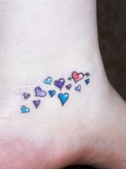 Tiny Colorful Hearts Tattoos On Foot 091 (tattoos_addict) Tags: hearts foot colorful tattoos tiny 091 hearttattoos