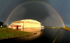 The Mantle of Safety (Darren Schiller) Tags: sunset storm weather rainbow hangar newsouthwales dubbo rfds royalflyingdoctorservice