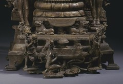 The Buddhist Goddess Shyama Tara (Green Tara) Attended by Sita Tara (White Tara) and Bhrikuti LACMA M.84.32.1a-d (base) (Fæ) Tags: ca detail us losangeles scan unitesstates wikimediacommons imagesfromlacmauploadedbyfæ sculpturesfromindiainthelosangelescountymuseumofart 8thcenturyartofindia m84321ad