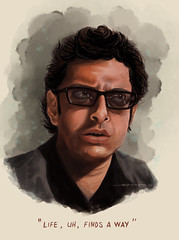 Jeff Goldblum Portrait (armyofcats) Tags: painting digitalpainting watercolour wacom jurassicpark jeffgoldblum lifefindsaway ianmalcolm
