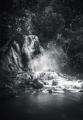 Kuang Si Waterfall, Luang Prabang, Laos (syukaery) Tags: trip travel vacation blackandwhite bw tourism nature monochrome vertical landscape waterfall nikon asia wanderlust d750 laos tamron 1735mm explored inexplore kouangxi