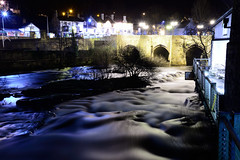 Let's have a nice cold pint (Mortarman101) Tags: bridge winter cold water night river pub rapids llangollen riverdee northwales cornmill nikond610