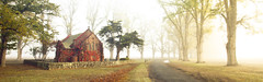 Crimson Heart (rubberducky_me) Tags: road autumn red panorama orange sun building fall church leaves fog country australia nsw armidale