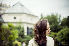 (Esther'90) Tags: blue trees portrait sky woman plants house green face buildings garden botanical spring bokeh greenhouse portraiture botanicalgarden portraitphotography womanportrait portraitwoman