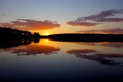 Lake Kivijrvi (sakarip) Tags: sunset sky cloud lake reflection clouds forest finland evening spring still may calm serene settingsun summerplace lakescape kivijrvi luumki sonydscrx100 sakarip