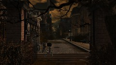 Hollow Lane (alexandriabrangwin) Tags: world park street old city trees houses homes overgrown lamp computer dark bench evening town 3d graphics gate iron arch russia charm cobblestones bicycles secondlife virtual lane lanterns cgi stpetes alexandriabrangwin
