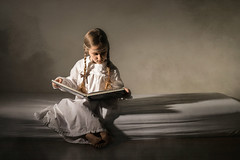 world inside her... (Zborowska) Tags: white feet girl reading book bed dress inside ribbon