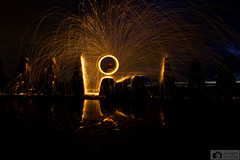Fire spinning at Crammond island (Photographs by Jacques) Tags: longexposure blue light sunset sea sky art nature water beautiful beauty night landscape fire scotland edinburgh pretty colours forth spinning bluehour southqueensferry northqueensferry steelwool crammond crammondisland