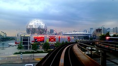 Storm is moving in... (Wally Barber) Tags: sunset storm rain vancouver clouds nice skytrain wally scienceworld