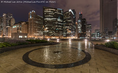 Wet Wolf Point (DSC07981) (Michael.Lee.Pics.NYC) Tags: longexposure chicago reflection rain architecture night clouds circle construction cityscape sony chicagoriver wolfpoint voigtlanderheliar15mmf45 a7rm2