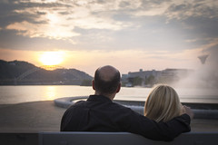 PittsburghCouple (christopher_harness) Tags: sunset portrait sun fountain clouds canon outdoors eos pittsburgh outdoor pennsylvania 700d rebelt5i
