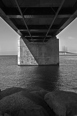 The Bridge_DSC2639 (jonwaz) Tags: ocean bridge sea blackandwhite bw white black blanco water monochrome skyline architecture concrete construction nikon waterfront y sweden outdoor negro sverige scandinavia malm bron jonwaz