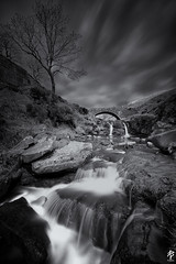 Three Shires Head... (fearghal breathnach) Tags: threeshireshead peakdistrict monochrome landscape waterfall bridge longexposure blackwhite bw water river lonetree