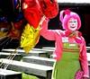 skittles (timetomakethepasta) Tags: helium balloons skittles woman makeup clown pink green overalls polka dots flowers fair festival eat prune humpty dumpty start movement