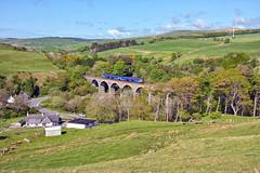 Idyllic Ayrshire (whosoever2) Tags: uk greatbritain railroad windmill train landscape scotland nikon diesel unitedkingdom hill railway viaduct gb ayrshire dmu gswr class156 d7100 glasgowsouthwestern 156504 kinclaer