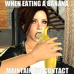 Banana Safety Tips (alexandriabrangwin) Tags: world silly sexy eye home look mouth computer 3d graphics funny eating banana meme maintain secondlife virtual advice contact rule cgi alexandriabrangwin