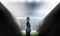 Composite image of arena tunnel (lifthard1) Tags: ireland green grass stadium crowd entrance tunnel arena event pitch fans copyspace spotlights
