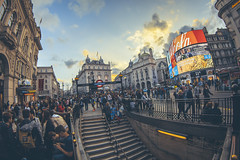 Piccadilly Circus (www.javierayala-photography.com) Tags: inglaterra sunset england people london underground piccadilly coke landmark tourist piccadillycircus fisheye londres cocacola