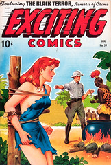 Exciting Comics #59 (1948), cover by Alex Schomburg (Tom Simpson) Tags: woman sexy 1948 girl vintage comics legs boobs bondage bdsm redhead 1940s cover comicbook ropes tied alexschomburg excitingcomics