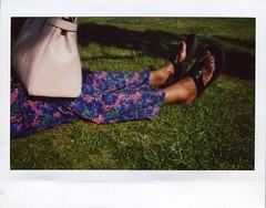 Park Life (iGladsPhotoWorld) Tags: instax instant film fujifilm fuji install200 feet legs colour grass park handbag woman ebony black brown