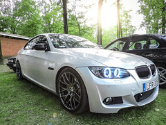 BMW E92 (333hp) (iphoto.geri) Tags: auto light sky sun green nature car race speed forest grey awesome wheels automotive turbo german flare bmw carbon m3 rims tuning blackrims msport bmwm automotivephotography angeleye e92 mpackett