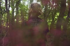 In her natural habitat (Sarah-Louise Burns) Tags: wood light green girl leaves forest vintage hair woods woodlands long dress location blonde bun