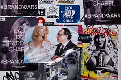 Sabine Getty (Gary Kinsman) Tags: fujix100t fujifilmx100t 2016 soho berwickstreet w1 westend london layers poster rip ripped mess chaos advert texture wall tear torn brandwars fireescape sign endless gerno chapel sabinegetty sabineg faces advertising