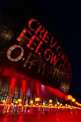 Wales Millennium Centre (technodean2000) Tags: park uk red wales night lights bay amusement hall nikon south centre text cardiff millennium lightroom d610