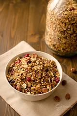 muesli, granola (Green Cookies) Tags: food brown breakfast indoor granola muesli onthetable foodphotography foodstyling