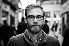 Dan (#201) Explored (drmaccon) Tags: nottingham blackandwhite bw monochrome beard glasses nikon streetphotography streetportrait stranger strangerportrait streetportraiture sigma2470mmf28 100strangers strangerphotography nikond5100