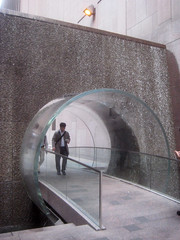 Waterfall Glass Tube Tunnel Midtown Manhattan 9956 (Brechtbug) Tags: park street new york city bridge fall water glass wall way waterfall walk manhattan tube bridges tunnel midtown half block through tunnels 7th 6th between avenues 48th 2013