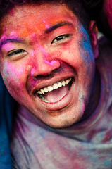 Holi festival, Kathmandu, Nepal (Andrew Taylor Photography) Tags: nepal portrait people man colour smile festival celebration kathmandu subject colourful festivity holi durbarsquare happyholi basantapurdurbarsquare colouredpowder playholi