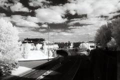 Leeds (Saturated Imagery) Tags: urban blackandwhite film 35mm ir motorway iso400 leeds infrared kodakhie ringroad littlelondon prakticatl5b