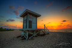 Palm-Beach-Shores-Lifeguard-Tower-on-Singer-Island (Captain Kimo) Tags: beach sunrise florida singerisland highdynamicrange lifeguardtower palmbeachshores photomatixpro hdrphotography topazadjust captainkimo