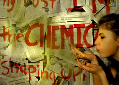 Radioactive (kirstengroff) Tags: selfportrait green me girl smoke newspapers radioactive chemicals imaginedragons