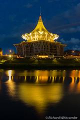 Kuching state senate building on the river (WhitcombeRD) Tags: city blue reflection water night river long exposure hour sarawak malaysia borneo kuching