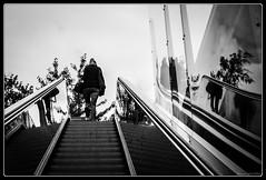 Escalator (Maestr!0_0!) Tags: street white black paris train noir escalator reflet rue blanc rer
