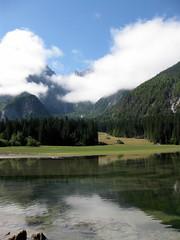 Lago superiore (Cristina Birri) Tags: trees summer lake mountains green alberi clouds montagne lago nuvole acqua alpi prato friuli udine fusine tarvisio boschi valromana