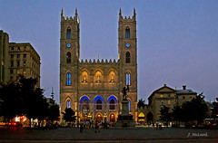 Montreal: Notre Dame Basilica (Fire Fly5) Tags: old beautiful montreal towers peaceful placedarmes gothicrevival bacilica