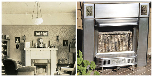 289/365 My grandmother's fireplace in 1936, and today